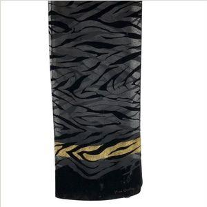 Pierre Cardin Velvet Burnout Scarf Black Gold